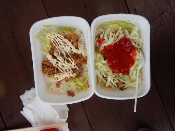 豚丼とタコライス